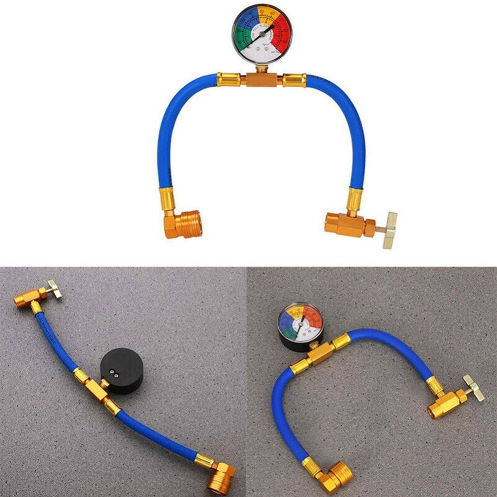 Автомобильный Кондиционер воздуха AC R134A хладагент перезарядки измерительный шланг с манометром A/C 1/2 перезарядки измерительный комплект может коснуться