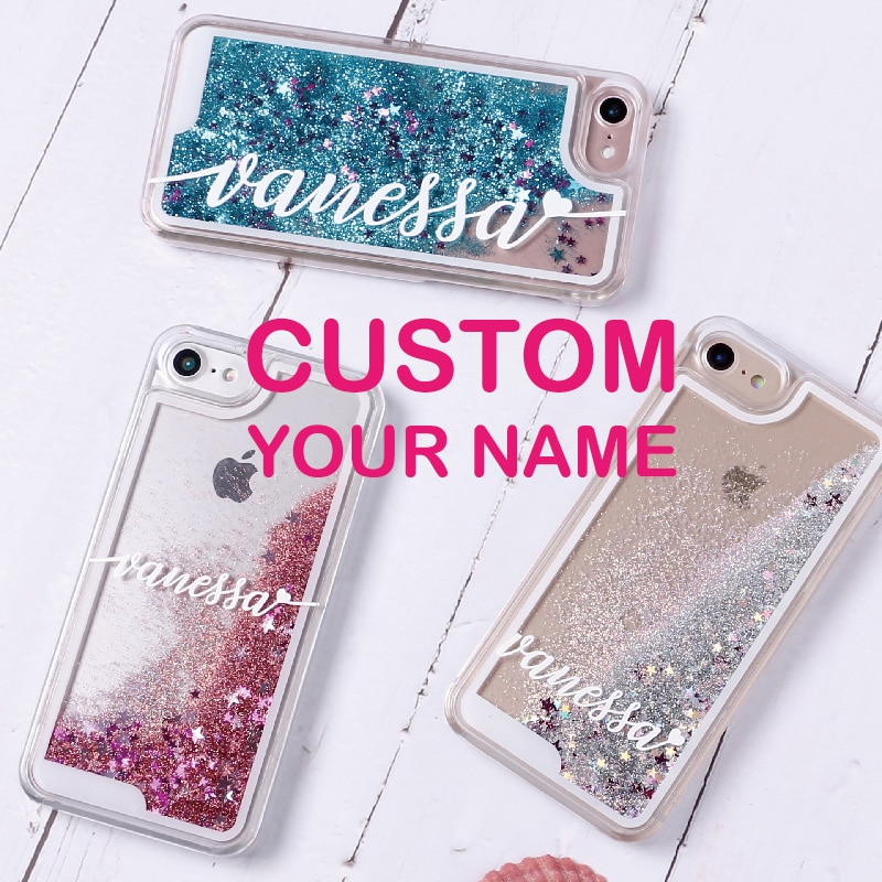 OLOEY, Personalisierte Flüssigkeit Glitter Silber Name Text Harte Telefon Fall Für iPhone 11 Pro 6S XS Max 7 7Plus 8 8Plus X XR
