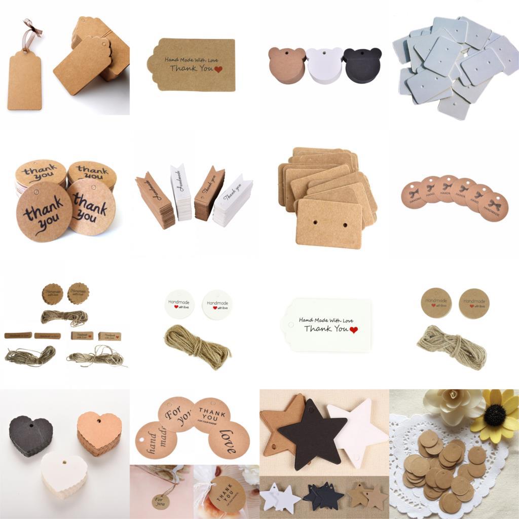 100 unids/lote etiquetas de agradecimiento Tarjeta de dulces caja de regalo etiqueta decoración Kraft Tarjeta de papel para boda Vintage suministros de boda regalos de boda