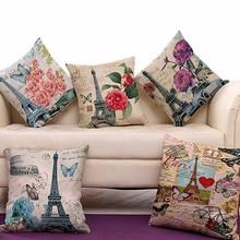 "Vintage Eiffel Tower Pillow Cover Retro Flower Linen Cotton Home Decor Cushion Cover Throw Pillow  Pillowcase Pillowsham 17""x17"""