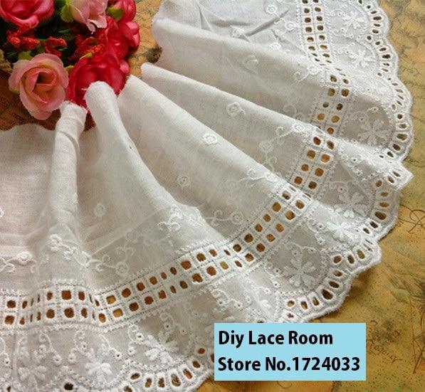 Распродажа, бесплатная доставка, 3yds/упаковка, 12 см, ажурная хлопковая кружевная ткань с вышивкой, платье/юбка/Аксессуары для одежды, Z818