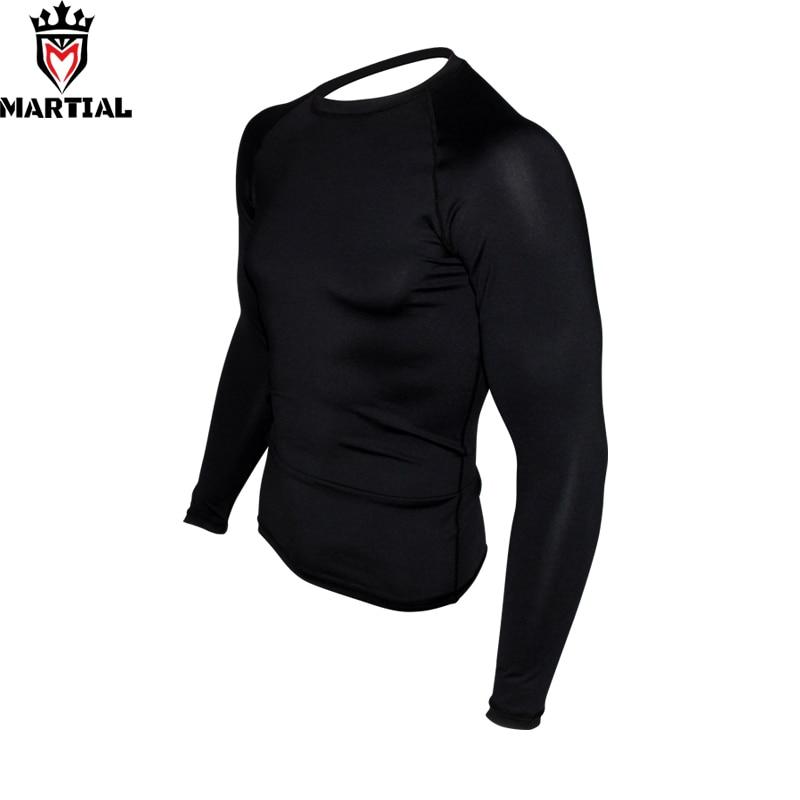 Artes marciales: nueva llegada longitud completa en blanco rashguards fitness mma boxing jersey RASHGUARDS negro running camisetas hombres