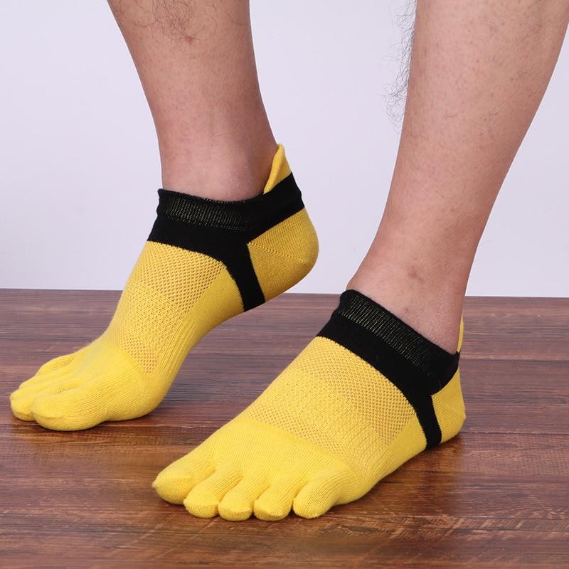 Five pairs  men's pure cotton five-finger socks Soft comfortable socks men short Candy color compression socks man free shipping