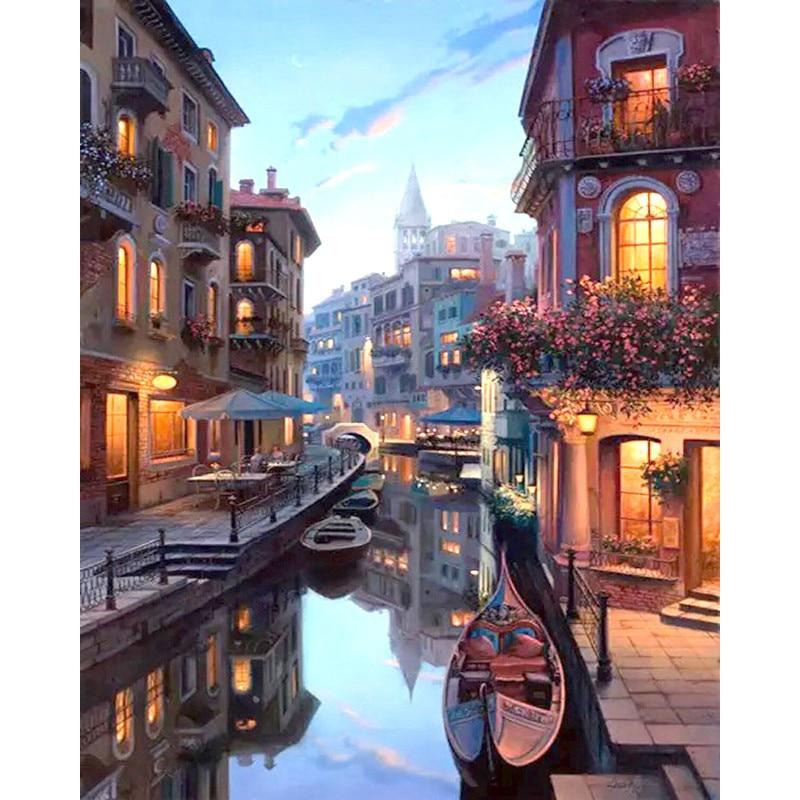 Veneza visão noturna paisagem diy pintura digital por números arte da parede moderna pintura em tela presente original decoração para casa 40x50cm