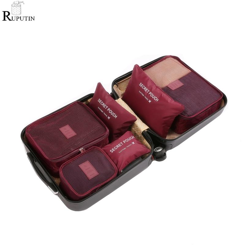 Ruputín-6 unids/set, organizador de viaje, bolsas de almacenamiento, juego de embalaje de maleta, Cajas de almacenamiento, portátil, organizador de equipaje, bolsa para ordenar ropa