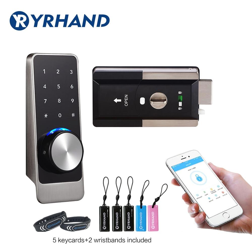 Get Waterproof Smart door rim locks, Bluetooth App RFID Keypad Electronic Door Lock, WiFi Security safe Digital lock for Home