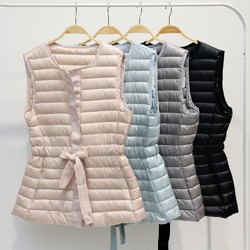 Nuevo chaleco fino algodón down ligero con cordón Vintage primavera otoño para mujer, prendas de vestir para mujer, chalecos cortos con cuello redondo, chaqueta sin mangas de moda Mw579
