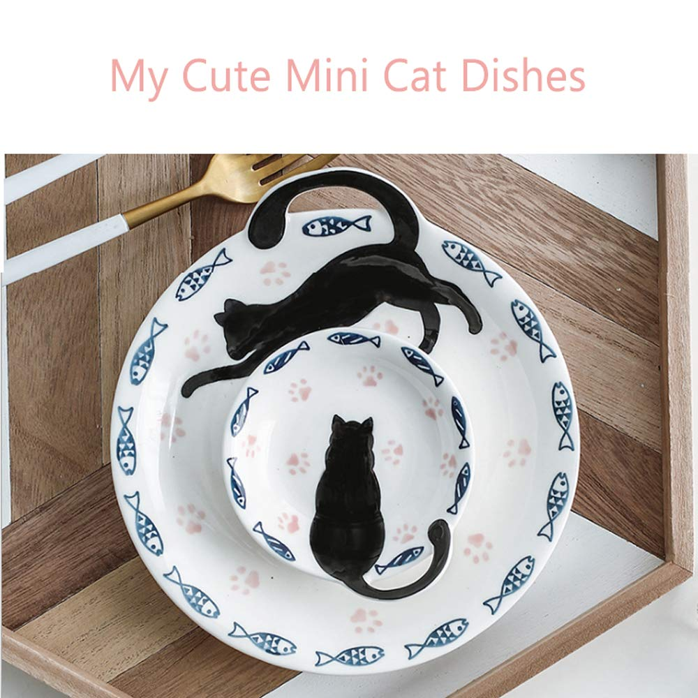 Plato de tazón de cerámica, plato pequeño, juego de gato, plato blanco con luz de cena, porcelana de ceniza de hueso, plato gris oscuro para ensaladas, plato de porcelana