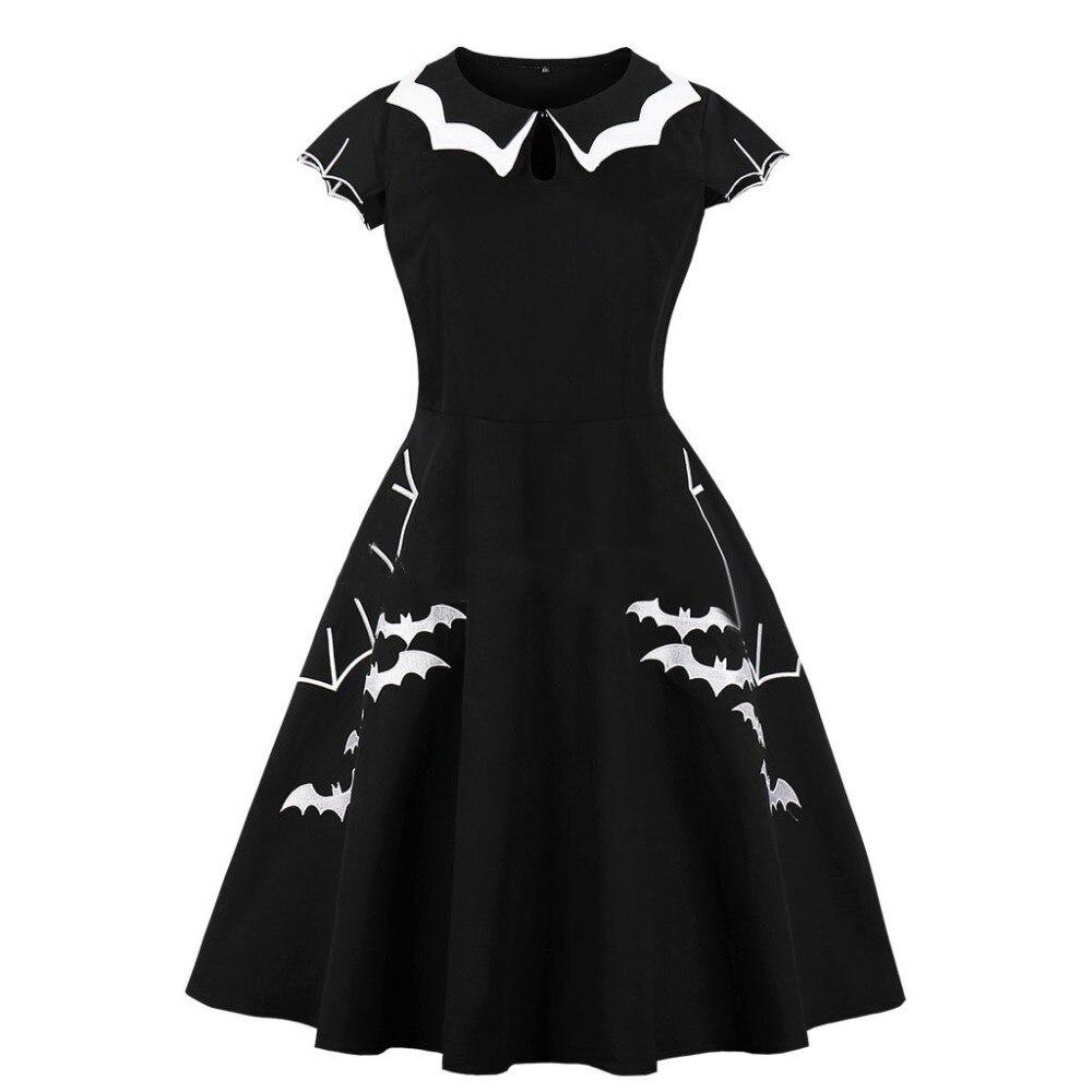 플러스 사이즈 레트로 빈티지 드레스 50s 60s 할로윈 스타일 짧은 소매 패치 워크 고스 파티 로리타 드레스 vestidos 빅 사이즈 4xl 5xl