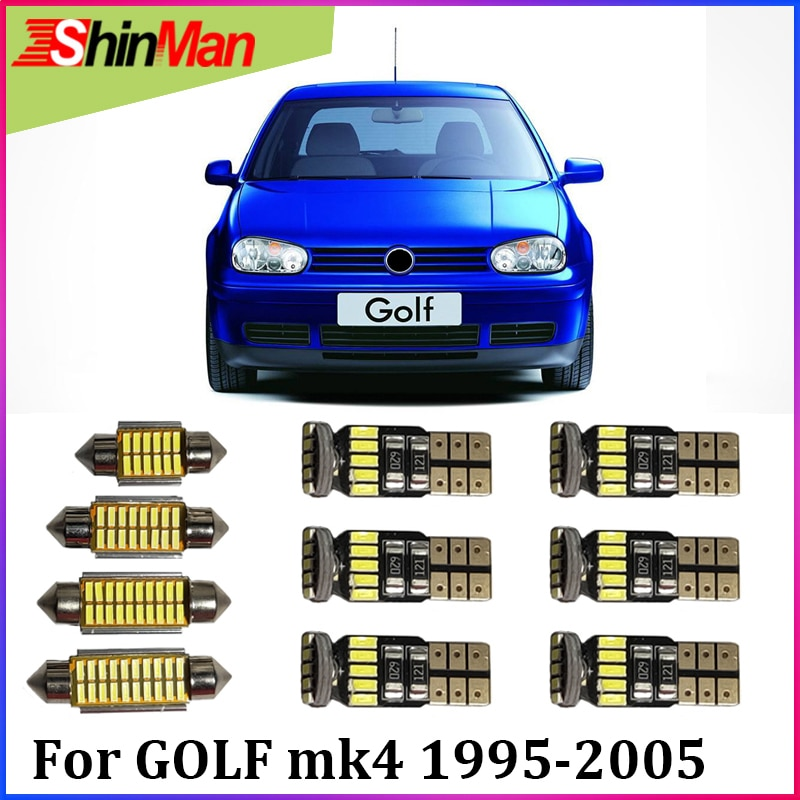 ShinMan12x LED CAR Light Car LED Interior Car lighting For Volkswagen Golf 4 MK4 R32 337/20AE R37 LED Interior Light 1995-2005