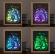 Cadre photo ombre en papier découpé par USB   En 3D, lampe de nuit, pour mariage, fête prénatale, Souvenirs cadeaux danniversaire
