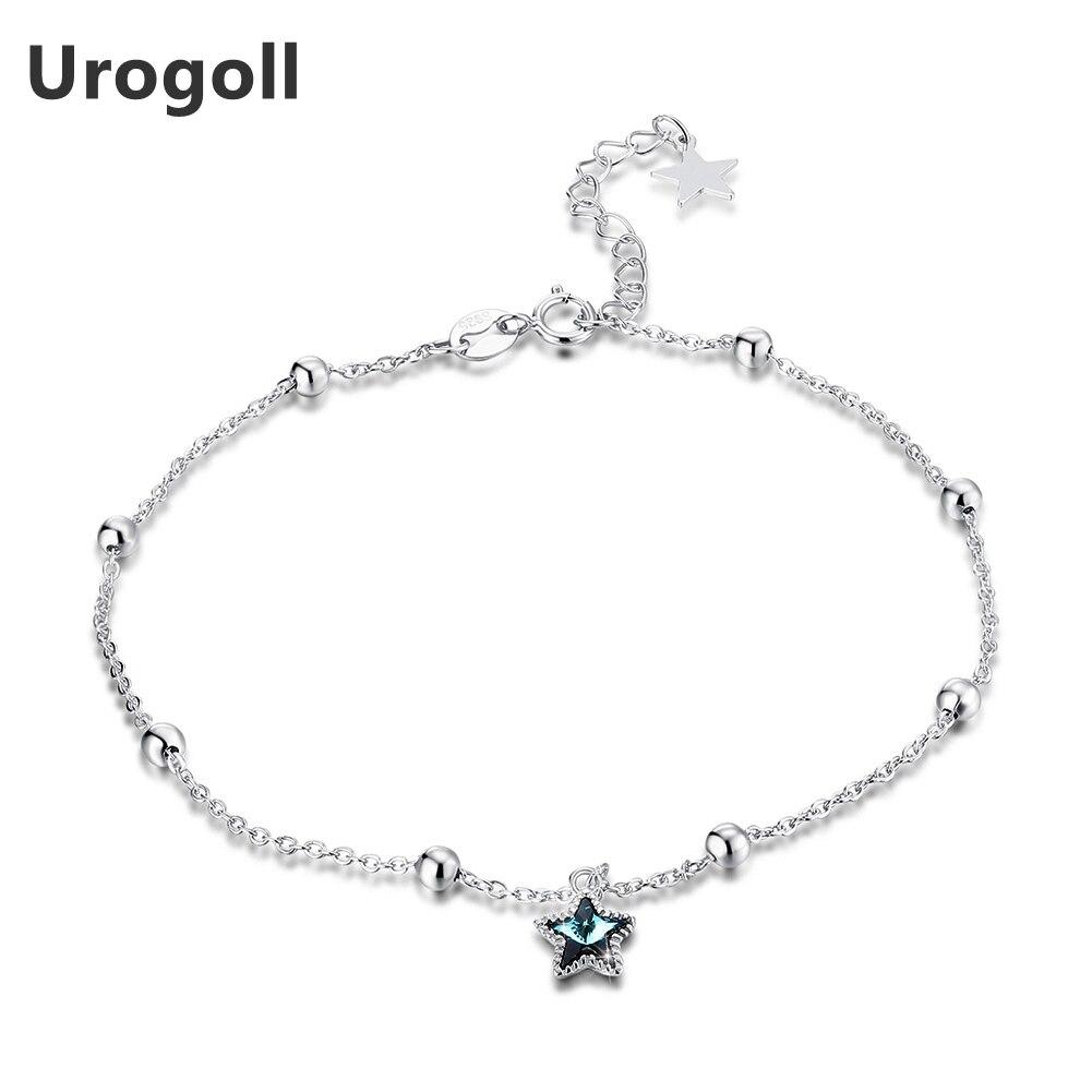 Moda 925 tobilleras de plata fina mujer puro redondo de plata cadenas de cuentas de plata esterlina Real estrella brazalete de cristal para tobillo de las niñas