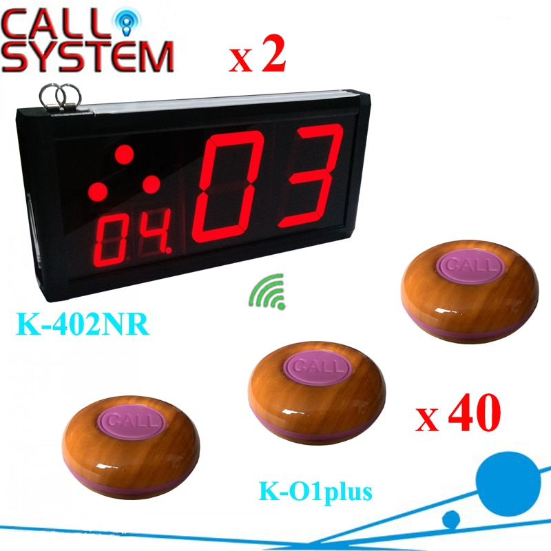 Hot sale 100% waterproof button 40pcs with 2 wall displays Coffee Customer calling bell system 433.92mhz