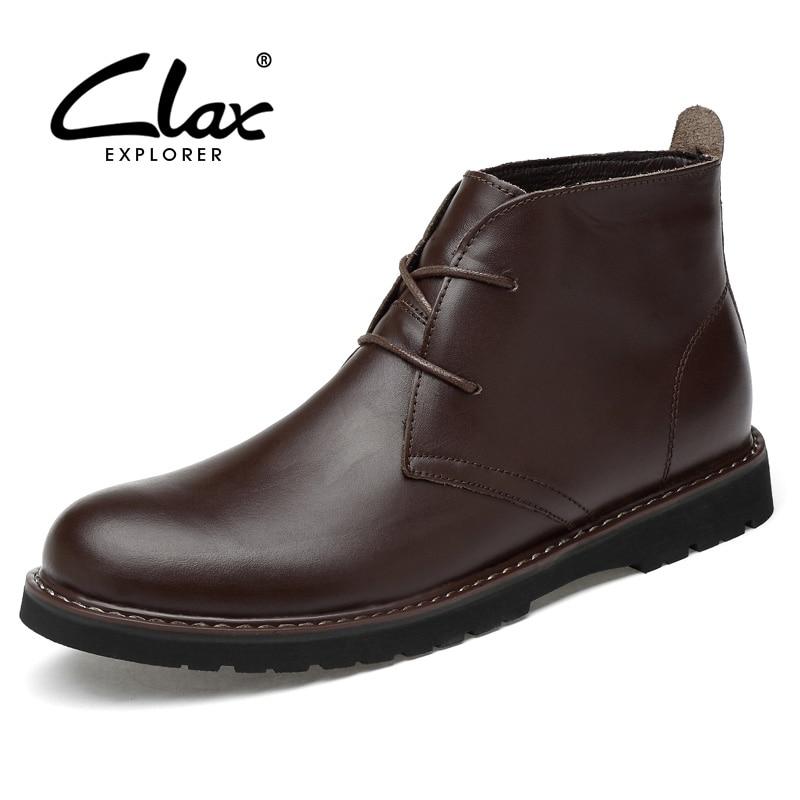 CLAX-حذاء برقبة صحراوي للرجال ، حذاء كاجوال ، جلد طبيعي ، مقاس كبير ، لفصلي الخريف والشتاء