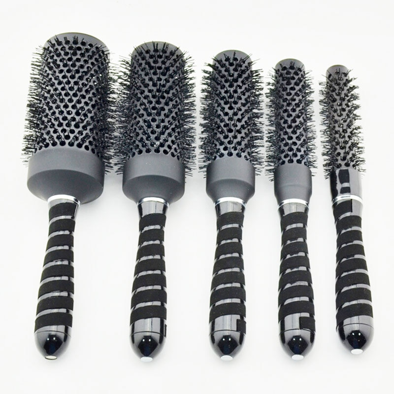 ¡Oferta! cepillo de pelo Nano de cerámica en color negro, cepillo redondo iónico en nanotecnología precio para i 1 Juego 5 uds