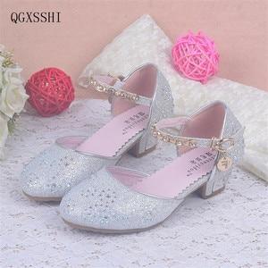 QGXSSHI Girls Heel Shoes Spring Bowtie Sandals 2016 New Children Shoes High Heels Princess Sweet Sandals Beaded Girls Shoes