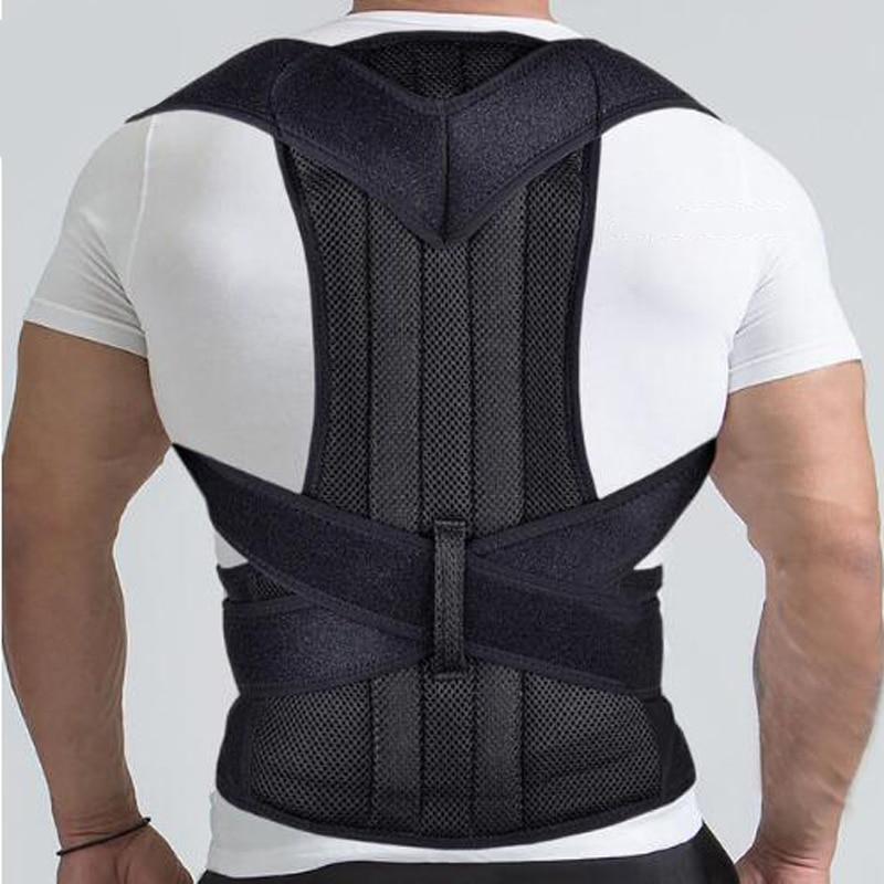Tirantes de soporte de espalda ajustable y soportes ortopédicos Corrector de postura corsé con soporte de espalda cinturón de corrección de postura negro