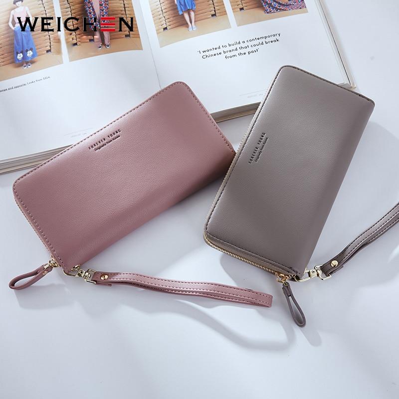 WEICHEN Wristband Women Long Clutch Wallet Large Capacity Wallets Female Purse Lady Purses Phone Pocket Card Holder Carteras