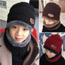Childrens Winter Hat Scarf Set Boys Girls Knitting Hats Scarves Set Solid Cotton Velvet Thicken Warm Outdoor Essential