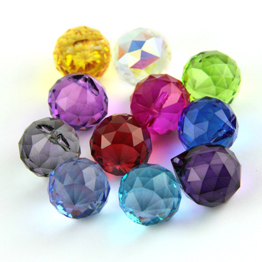 Mixed Colors Size Feng Shui X-mas Crystal Ball Prism Pendant For Parts