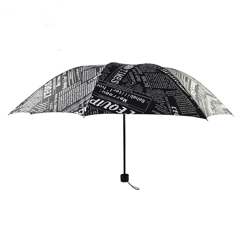 Paraguas de periódico blanco y negro viento británico plegable de moda Paraguas automático Anti-Uv SOL/lluvia Parasol