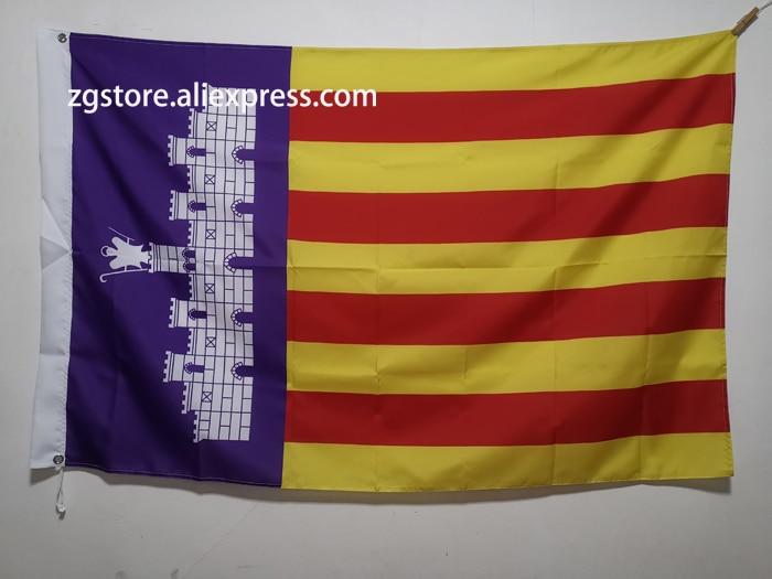 Flag of Majorca Balearic Islands Spain Flag Banner 3X5FT 150X90CM Polyester Banner brass metal holes Home Decor