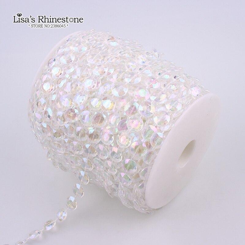 2 yardas de hilo de pescar de algodón cristal Artificial claro AB medio redondo Flatback perlas cadena DIY guirnalda decoración de la boda