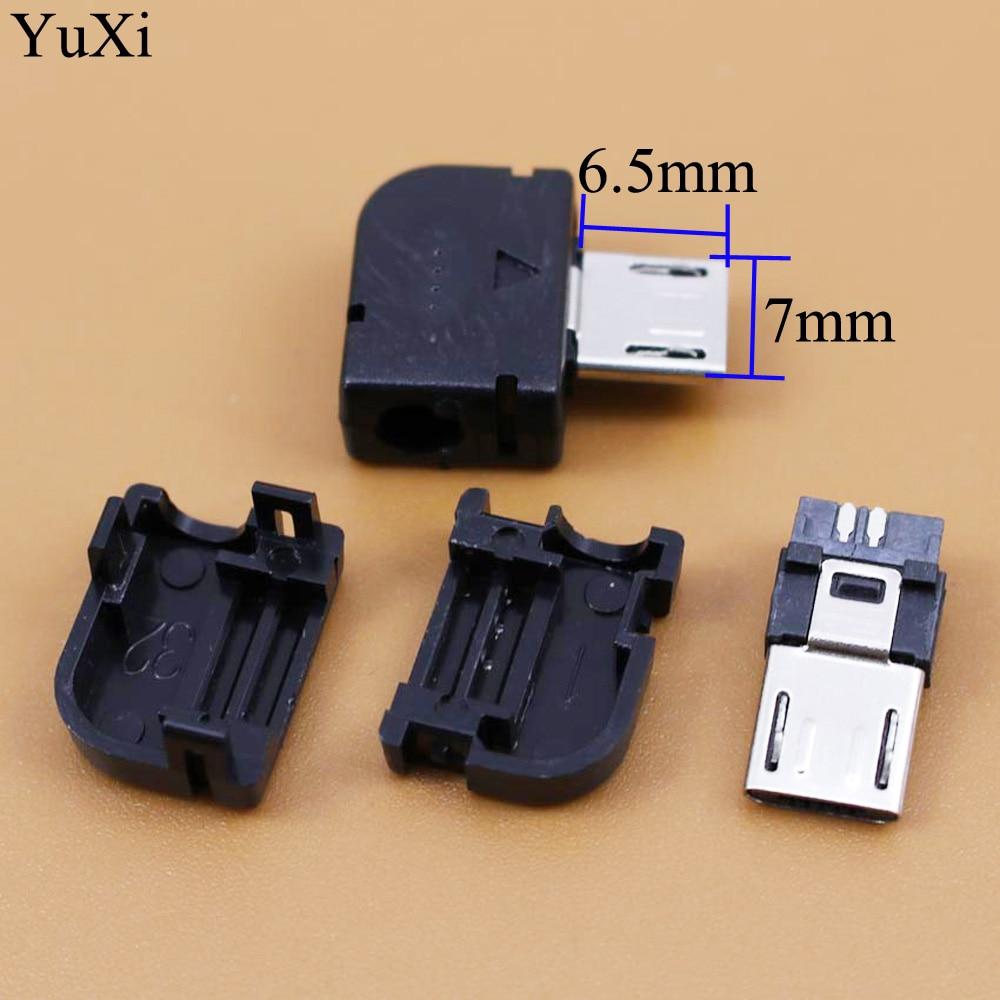 Micro USB 3 en 1 90 grados conector macho DIY Cable de soldadura Tipo De Soldadura enchufe de carga de cable interfaz ángulo recto cubierta de plástico