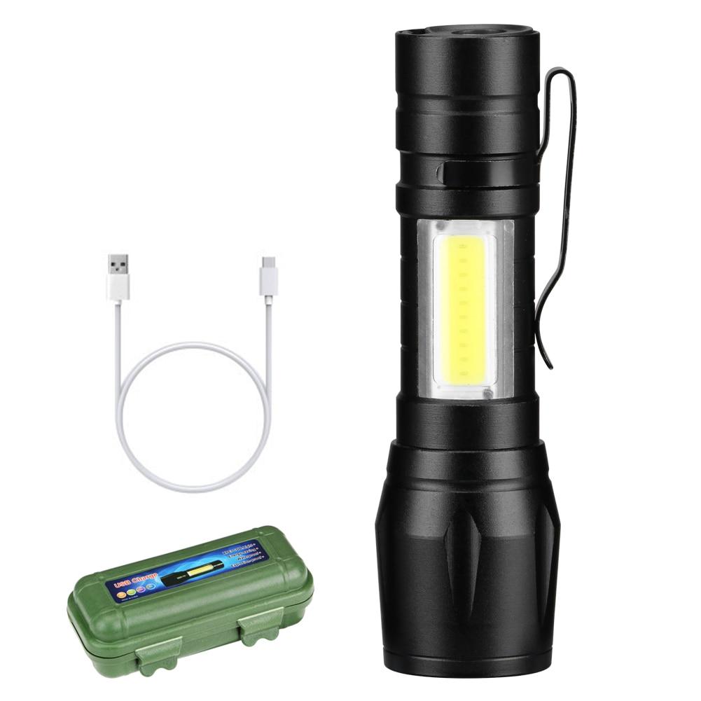 Sanyi linterna portátil COB LED ajustable linterna táctica 3 modos construido en 14500 batería con Cable USB caja de almacenamiento