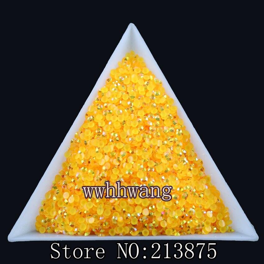 Envío Gratis 10000 unids/bolsa... SS6 naranja amarillo color mágico AB jalea 2mm resina de diamantes de imitación de cristal de Arte de uñas no hotfix cuentas