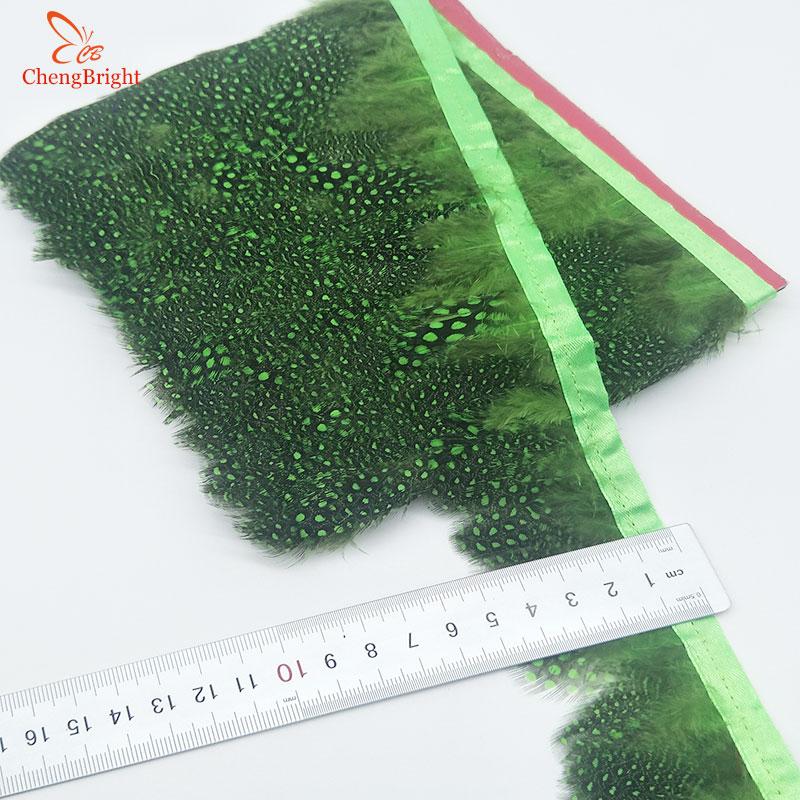 ChengBright venta al por mayor 10 yardas verde faisán pluma adornos vestido de boda falda adorno para ropa de fiesta plumas para manualidades cinta