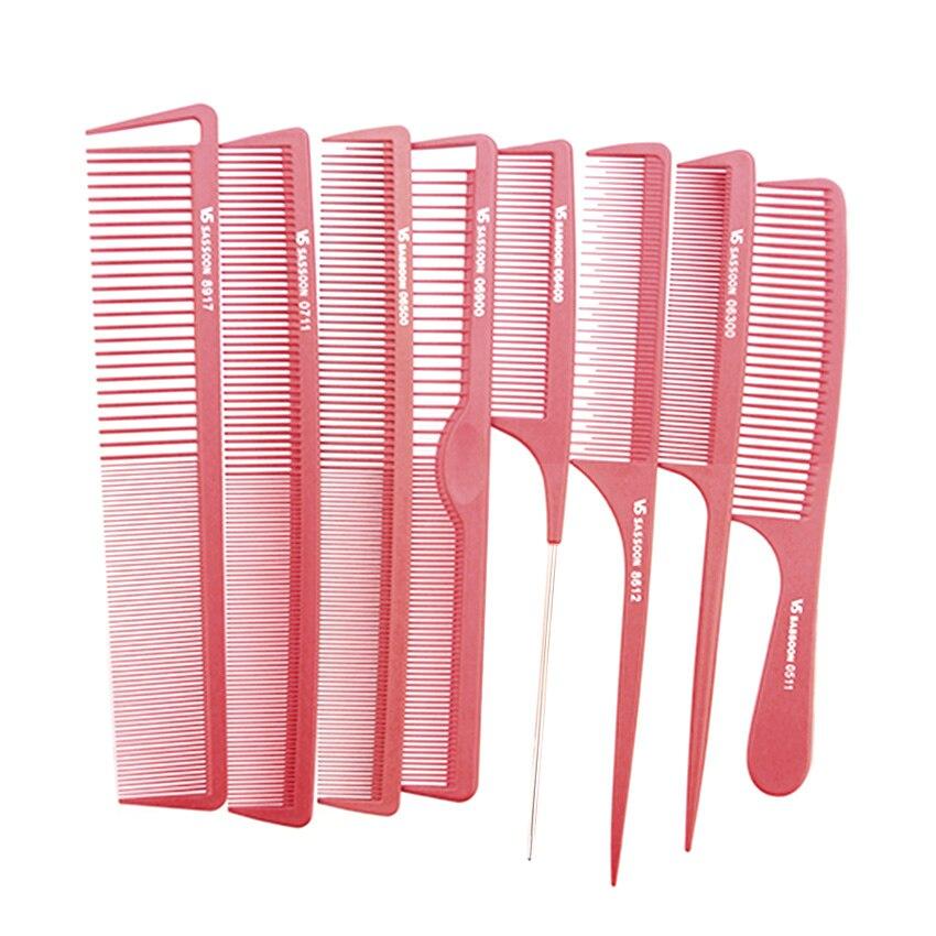9 pièces cheveux coupe peigne en couleur rouge, cheveux carbone antistatique peigne V-09 avec Design professionnel cheveux coupe outils prix de gros