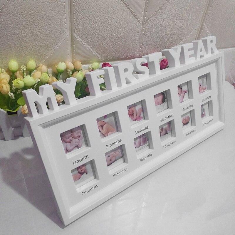 """Creativo DIY 0-12 meses Bebé """"mi primer año"""" imágenes recuerdos conmemorativos niños crecimiento memoria regalo pantalla de plástico de marco de la foto"""