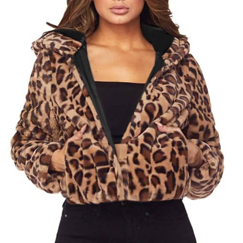 Chaqueta con capucha de leopardo de invierno para mujer, Chaqueta de punto de piel sintética de manga larga, prendas de vestir, abrigo elegante con solapa para mujer, abrigo con pelo, Parka A4