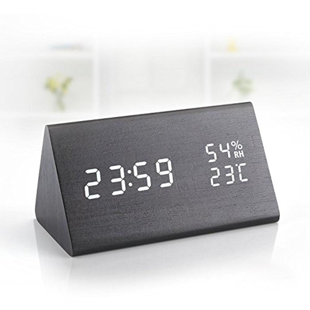 Despertador Digital de madera con 3 niveles de brillo ajustable, 3 grupos de alarma LED, despertador Digital para dormitorio