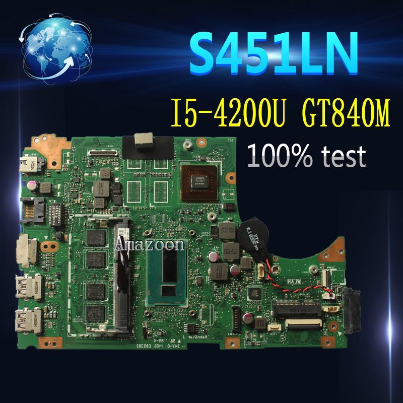 Amazoon S451LN carte mère dordinateur portable pour For Asus pour For Asus S451 S451L V451 V451L S451LN S451LB Test carte mère dorigine I5-4200U GT840M