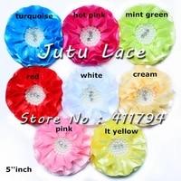 35 pcs  lot  5 Satin Ribbon flower headband Rhinestone Grosgrain hair headwear Accessories