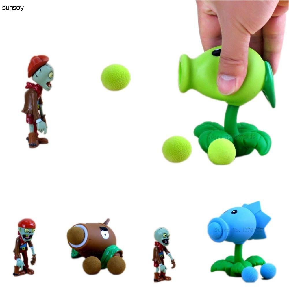 Popular juego de plantas de PVZ vs Zombies Peashooter PVC MODELO DE figura de acción juguetes 12 estilo 10CM plantas Vs juguete de Zombies para regalo de niños