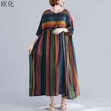 Women Plus Size Summer Sundress 4XL 5XL 6XL Robe Vintage Big Swing Striped Cotton Linen Maxi Dress Batwing Long Dresses 2019 New