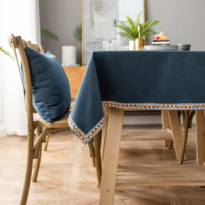 Colorido bordado decoração sólida toalha de mesa pastoral estilo casa jantar mesa pano multitamanhos retângulo mesa roupas mantel mesa