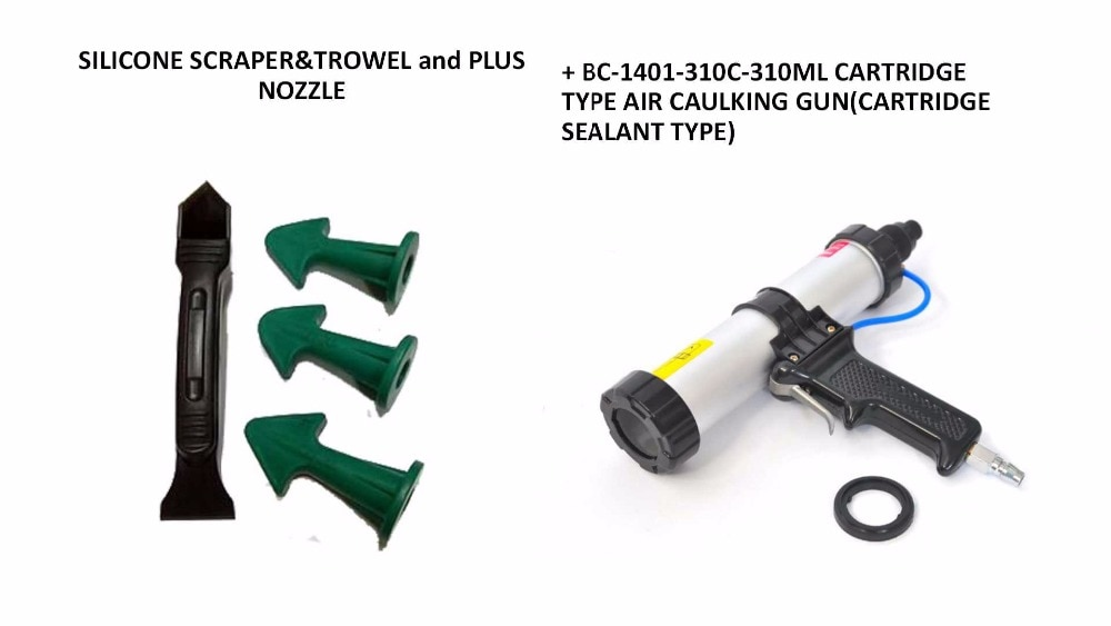 Free Shipping 310ml Cartridge Pneumatic Caulking Gun and New Silicone Scraper and Sealant Trowel Nozzle Plus Caulking Tools