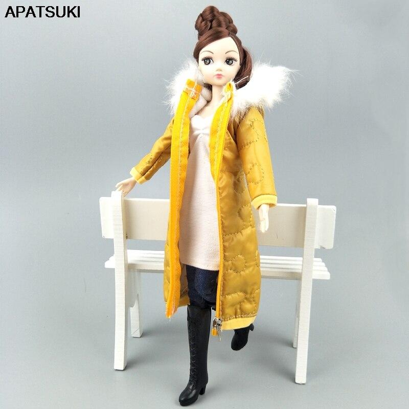 Abrigo largo amarillo de invierno para Barbie ropa para vestir muñecas Parka para muñeca BJD 1/6 ropa de invierno chaqueta 16 accesorios para muñecas juguete para niños