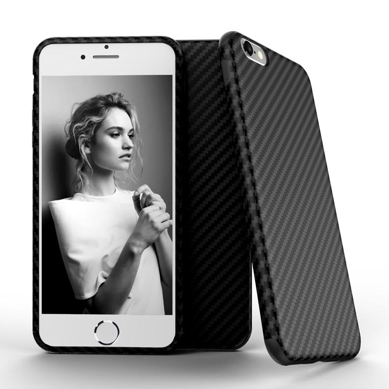 Najnowszy środowiska carbon fiber case dla iphone 6 6s plus miękkie antypoślizgowa anti-puk pokrywy dla iphone 7/plus skóra skóra torba 2