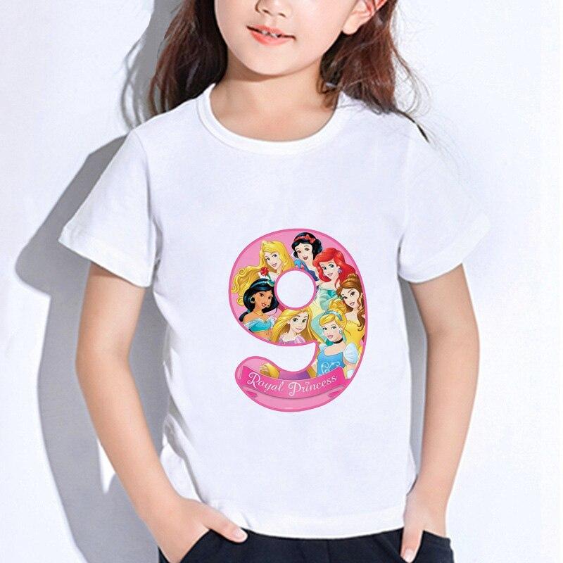 ZSIIBO Cartas De Cumpleaños feliz bebé niña princesa ropa linda impresión niños camiseta divertida niños número 1-9 regalo de cumpleaños