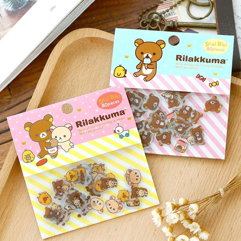 80 uds, Mini Pegatinas transparentes de PVC Rilakkuma, pegatina para álbum de recortes DIY con dibujo de oso encantador para agenda escolar, papelería para estudiantes
