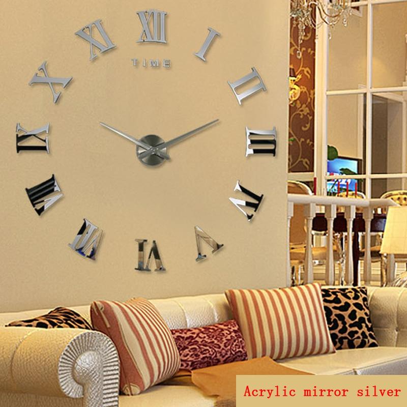 Diy Wall Cock Promotion New Home Decor Large Roman Mirror Fashion  Modern Quartz Clocks Living Room  Sticker Watch