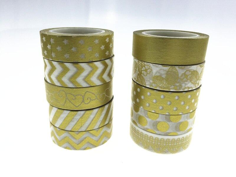 Rollo de cinta de papel Washi de un solo lado DIY de 10m * 1,5 cm para envolver artesanías, álbumes de recortes, recuerdos de fiesta de boda