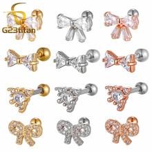 Acier chirurgical CZ Gem arc oreille Cartilage Tragus hélice Piercing Labret goujons 16g or Rose or argent couleur oreille anneau corps bijoux