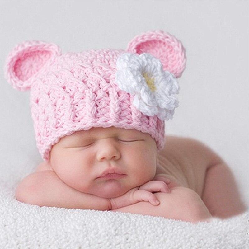 Nuevo nacido accesorios Rosa niño sombrero floral atrezos para fotografía de bebés, recién nacido sesión de fotos fotografie bebé gorra de crochet