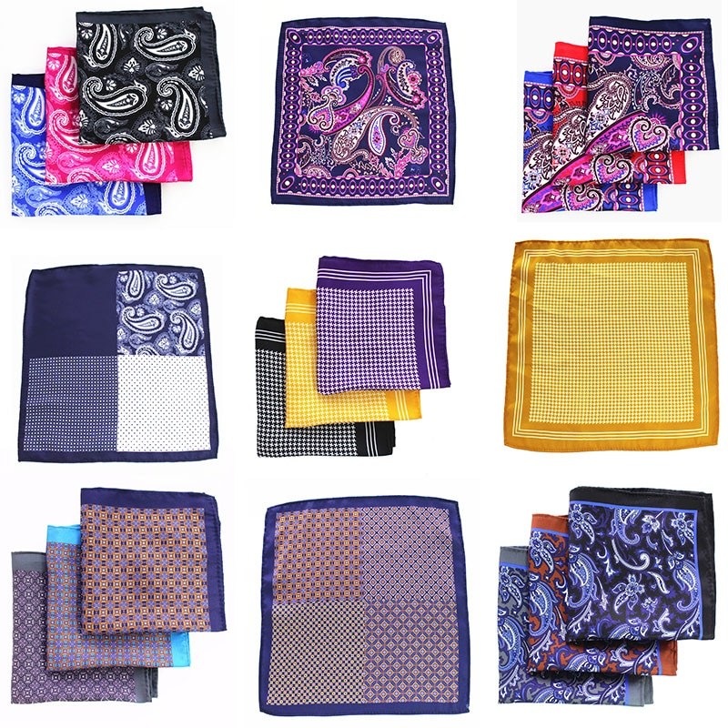 48 Styles Mans Pocket Square Paisley Design Houndstooth Color Matching Handkerchief Luxury Printing Scarf Accessories